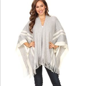 Grey and White Long Body Open Poncho